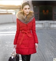 Winter medium-long thickening cotton-padded jacket 2013 new long design wadded jacket luxury raccoon fur down coat