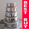 10pc Stainless Steel Storage Bowl Container + Lid Set