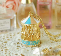 Min.order 15$ mix Whimsical Gold Carousel Merry go Round- Peach Seafoam Blue Charm Pendant necklace
