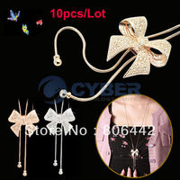 10pcs/Lot New Woman Charming Attractive Noble Set Auger Bowknot Necklace Sweater Chain Free Shipping 10101