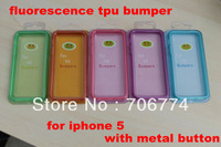 Free Shipping,For iphone 5 5S Dark Fluorescence Noctilucent Bumper Frame For Iphone 5 Glowing Cases Bumper,10pcs/lot