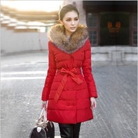 2013 new winter women's fashion luxury raccoon fur medium-long down coat wadded jacket cotton-padded jacket