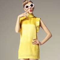 Brand Fashion 2013 summer yellow blue elegant slim small turtleneck silk one-piece dress female Free Drop Shipping