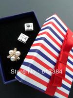 20pcs lot  European style princess fashion blue red stripe ring box jewelry box customize gift box jewelry box