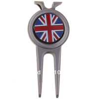 Free Shipping Silver Golfer Hat Clip Divot Tool with Ball Marker