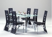 metal frame, stainless  tube , tempered glass ,KD ,dining table T025