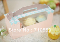 Cake box blue powder portable window 3 case MaFen box cupcakes box