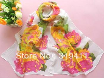 Free shipping big chrysanthemum light yellow print ultra long silk scarf sun-shading sunscreen SC0063