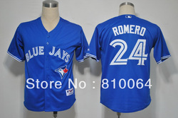 Sports baseball jesey # 24 Ricky Romero jereys Team Blue jays(China (Mainland))