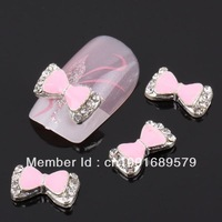 Newest Items Free Shipping Wholesale/Nails Supply, 50pcs 3D Alloy Pink Bowtie DIY Acrylic Nails Design/ Nails Art, Unique Gifts