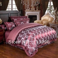 home textile wine red satin silk jacquard bedding set yarn dyed comforter set 4pc king size duvet cover set wedding gift