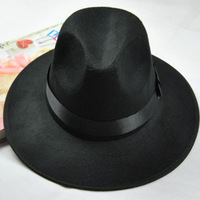 Hot !! Wool jazz hat summer hip-hop mens performace hats fedoras hat Michael Jackson style dancing hats black Free shipping