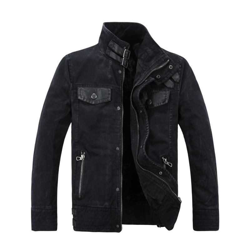 Male denim outerwear cool leather denim coat thickening plus velvet water wash denim jacket
