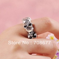 Wholesale Bronze Silver Skull Ring Size # 6 Free Shipping
