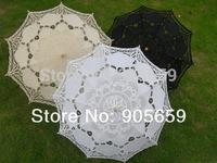 (30 pcs/lot) Handmade 38'' Solid White Ivory & Black Bridal Wedding Lace Parasols