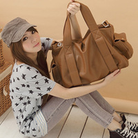 2013 korean japanned leather large capacity shoulder women handbag free shipping