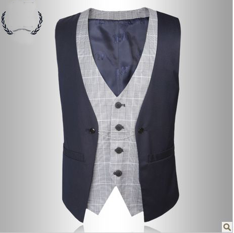 new style single -breasted montage fashion formal dress vest(China (Mainland))