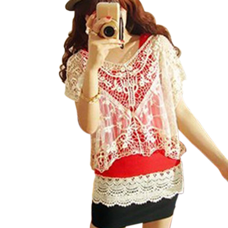 New Women Fashion Sweet Cute Lace Flower Batwing Loose Blouse Shirt Top 3812(China (Mainland))