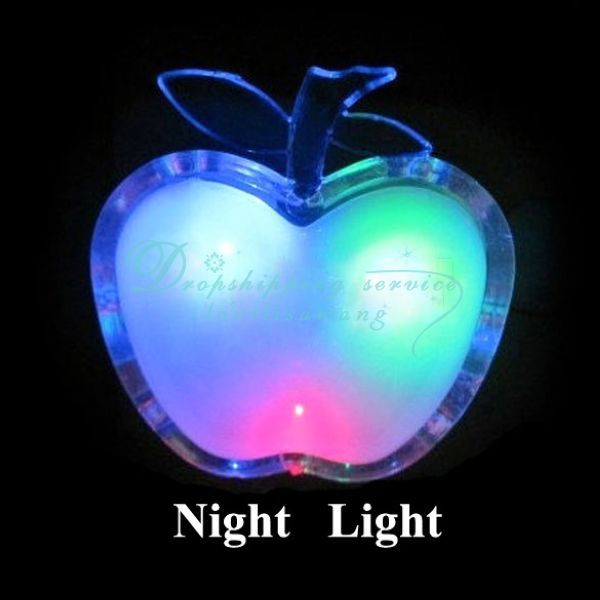 Wholesale Apple Shaped Colorful LED Night Light Energy-saving Wall Lamps Home Decoration(China (Mainland))