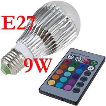 E27 9W RGB LED Lamp AC100-240V led Bulb Lamp with Remote Control multiple colour led lighting