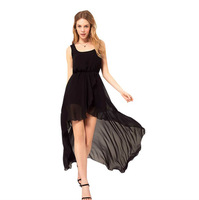 Women Irregular Vest Dress Spring and Summer Black Skirt for Women