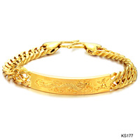 Men's women's charm jewelry 18k yellow gold plated dragon male wedding bracelet bangle anti-allergy 10mm width ks177