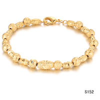 OPK Men Women's 18k yellow gold plated jewelry wedding beads strand bracelet bangle anti-allergy  ks152