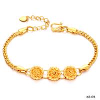 Women lady Fashion jewelry OPK 18k gold plated flower bangles bracelet hand chain ring ks176