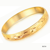 women wedding party jewelry bride 18k yellow gold plated decorative pattern hand ring bracelet bangle kh734