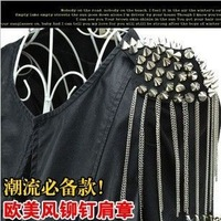 21H37 Gold \ silver colors  PUNK alloy silver tassel Spike epaulet / epaulette /  spike brooch , Punk Jewelry Free Shipping!