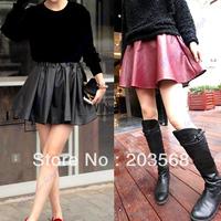 D19+Women Ladies Leatherette High Waist Skater Flared Pleated  Mini Skirt Black/Red