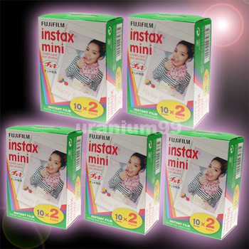Polaroid Fuji Fujifilm Instax Mini Film Twin Pack x 5 boxes ( Total 100 sheets plain photo ) for Instant Camera 7s 8 25 50s 55i