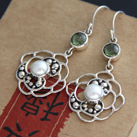 Nepal handmade 925 silver inlaying natural olive pearl earrings earring 10108