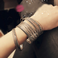 Fashion Vintage Jewelry Acessories Multi-layer Flower Bracelet