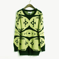 Fashion vintage pattern color block sweater female double layer thickening loose sweater shirt