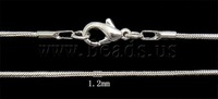 1.2mm Silver Color Plated Necklace Chain/Snake Chain 16inch with lobster clasp 100Pcs/lot Free Shipping