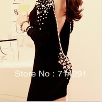 Luxury winter deep v neck sexy racerback pearl dinner long-sleeve slim hip slim one-piece dress free shipping