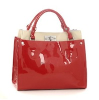 2013 HOT STYLE+BRAND women fashion genuine leather handbag/ELEGANT+STYLISH lady  japanned leather handbags/FREE SHIPPING+GIFT