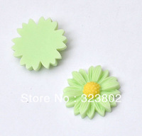 20MM Flatback Resin Cabochon Light Green Sunflower Cell Phone Case DIY Handmade Decoration Accessory 30PCS