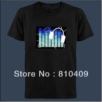 freeshipping fashional  flashing led  t-shirt,sound active el t-shirt different designs to choose