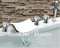 NEW Luxury Contemporary Bathroom Waterfall Bathtub Faucet+Hand Shower+ Glass Handles Chrome Finish Free Shipping!