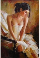 """Oil painting art"""" nude girl""""on canvas 24""""x36"""" Guaranteed 100% Free shipping"""