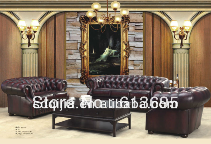 Luxury chesterfield genuine leather sofa furniture(China (Mainland))