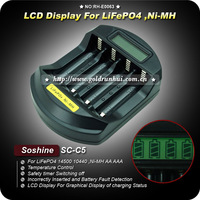 1PC New Version Soshine SC-C5 LCD Indicate Charger Professional LiFePO4 14500 10440  /Ni-MH AA AAA Intelligent Charger