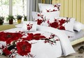 Printed comforter covers 100% Cotton red romantic plum blossom flower floral pattern Queen bedding sets 4 pcs
