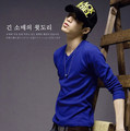 Free shipping 2012 solid color slim V-neck male long-sleeve T-shirt  hip hop t-shirt  brand t-shirt
