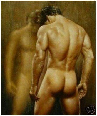 Art portrait oil painting:NUDE NAKED MAN 24X36 inch Guaranteed 100% Free shipping(China (Mainland))