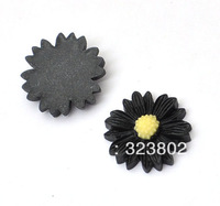 20MM Flatback Resin Cabochon Black Sunflower Cell Phone Case DIY Handmade Decoration Accessory 30PCS