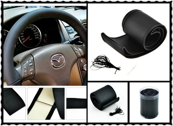 1pcs Black DIY Car Steering Wheel Cover With Needles and Thread Genuine Artificial leather Wholesale