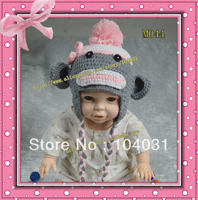 New 2013! Wholesale free shipping (20pcs/lot) 100% cotton baby crochet monkey hat hair accessory winter hat handmade baby hats(China (Mainland))